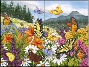 Butterfly Meadow - NW - Tile Mural